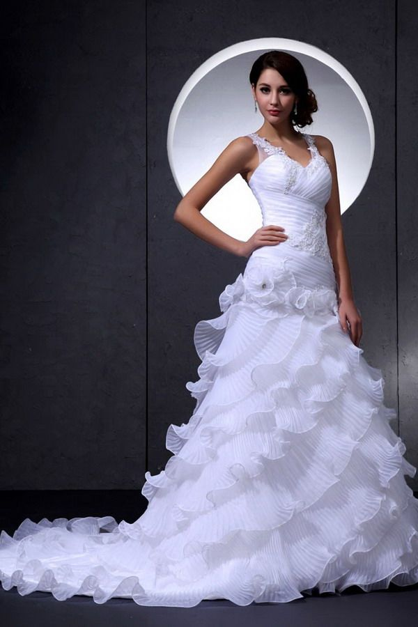 Luxury Trumpet Mermaid Straps V-Neck Wedding Gown - Order Link: http://www.thebridalgowns.com/luxury-trumpet-mermaid-straps-v-neck-wedding-gown-tbg0917 - SILHOUETTE: Trumpet/Mermaid; SLEEVE: Sleeveless; LENGTH: Chapel Train; FABRIC: Organza; EMBELLISHMENTS: Beading,Layered,Flower - Price: 177USD