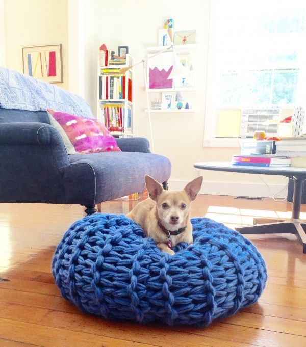 Chunky arm-knit pouf from Knitting Without Needles by Anne Weil in Lisa Congdon's living room.