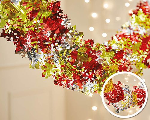Foil Garland Stars £3.50  Available in two choices of design - Snowflakes or Stars. 31cm x 2m (Approx)  KLife Kleeneze