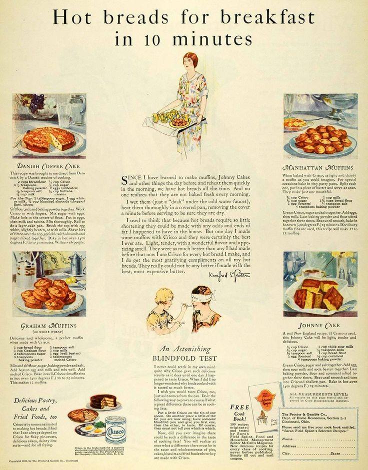 Crisco's Danish Coffee Cake, Graham Muffins, Manhattan Muffins, and Johnnie Cake Recipes | 1926