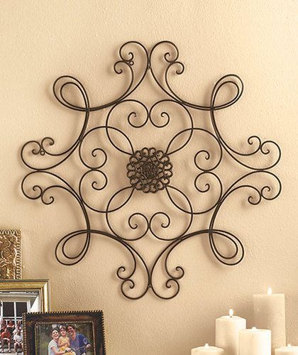 Metal wall art medallion wrought iron home decor accent Metal home decor