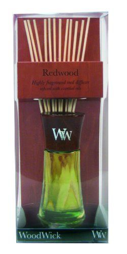 WoodWick Redwood Reed Diffuser by WoodWick. $19.99. WoodWick Reed diffusers feature highly concentrated fragrances infused with essential oils.. Fragrance without the flame!. A complex scent combining rich redwood with sandalwood and soft amber