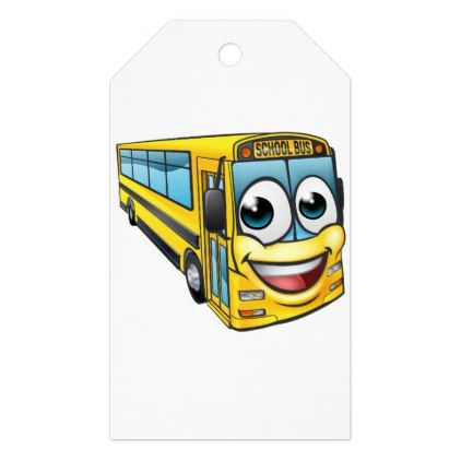 School Bus Cartoon Character Mascot Gift Tags - kids kid child gift idea diy personalize design
