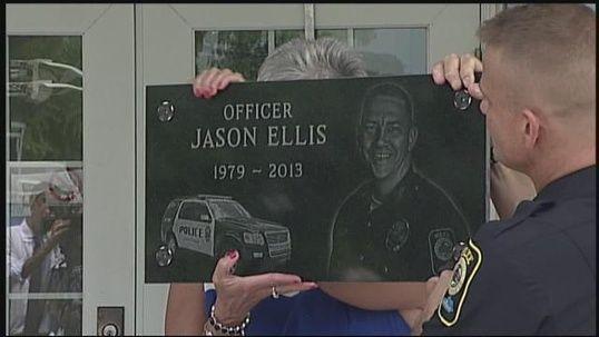 June 25, 2013:A memorial plaque is dedicated in honor of fallen Bardstown Police Officer Jason Ellis.