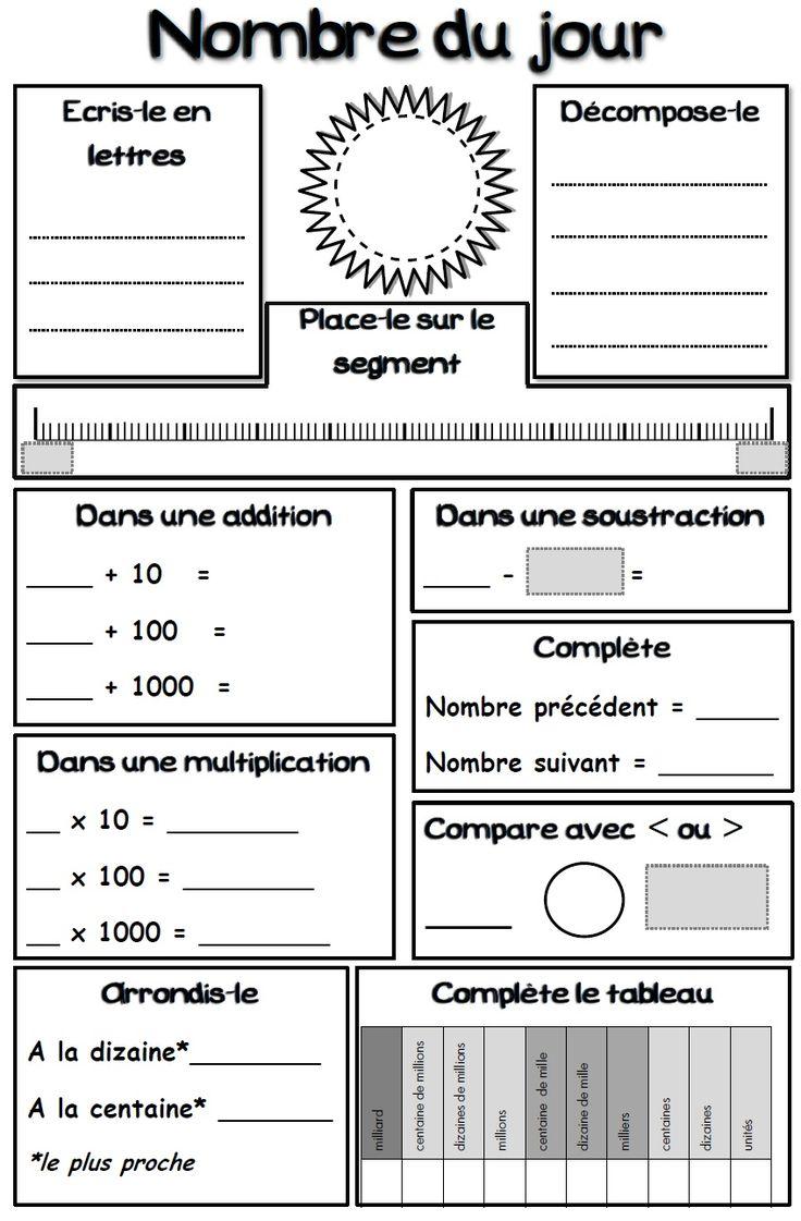 télécharger en pdf :Nombre du jour Les cases grises seront complétées par l'enseignant (avant photocopie, c'est mieux !) Un exemple :