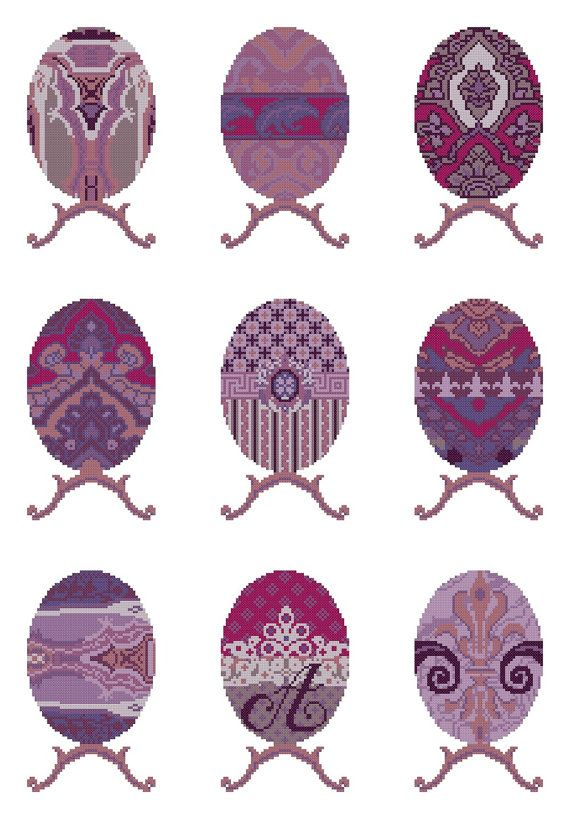 EGG SAMPLER - purple,mauve,needlepoint kit,cross stitch,embroidery,easter,diy embroidery kit,faberge,decorative,Anette Eriksson Design
