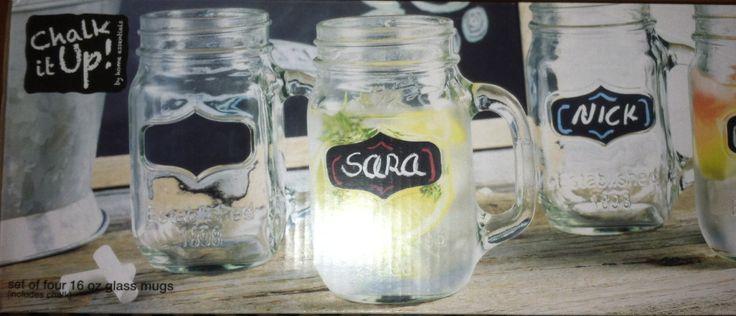 """Chalk it up"" mason jar mugs by Home Essentials"