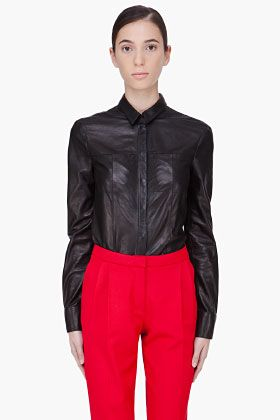 HAKAAN //    Black Leather Cyna Blouse    22407F112002