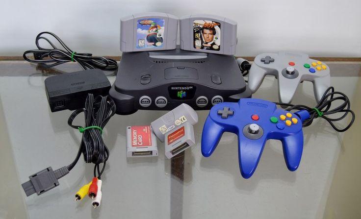 Nintendo 64 Black Console Bundle 2 Controllers 2 Games Rumble Pak Memory Card #Nintendo