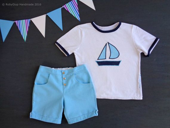 Little sailor boy outfit, denim aqua shorts + cotton t-shirt, boat applique. Baby boy birthday, clothing set, baby shower, kids clothing - by RobyGiup