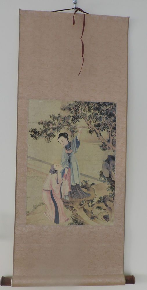 Japan -China Asian Art Hanging Scroll Panting Erotic  Scene Silk