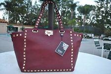 MMS Gold Studded Wine/Red Color Structure Tote, $35