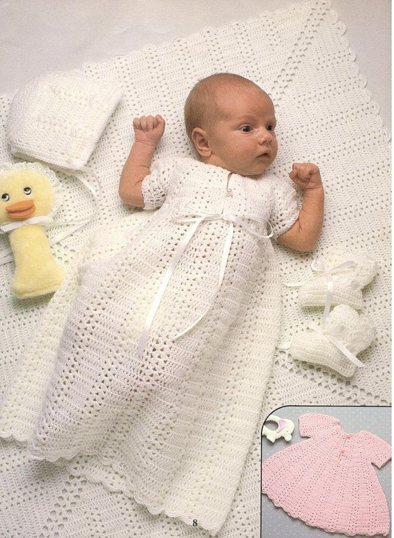 Vintage Crochet Pattern Classic Shell Stitch Heirloom Layette Etsy Crochet Baby Dress Baby Christening Gowns Crochet Baby Clothes