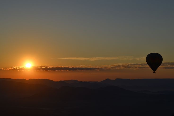 Hot air balloon in Namibia at sunrise