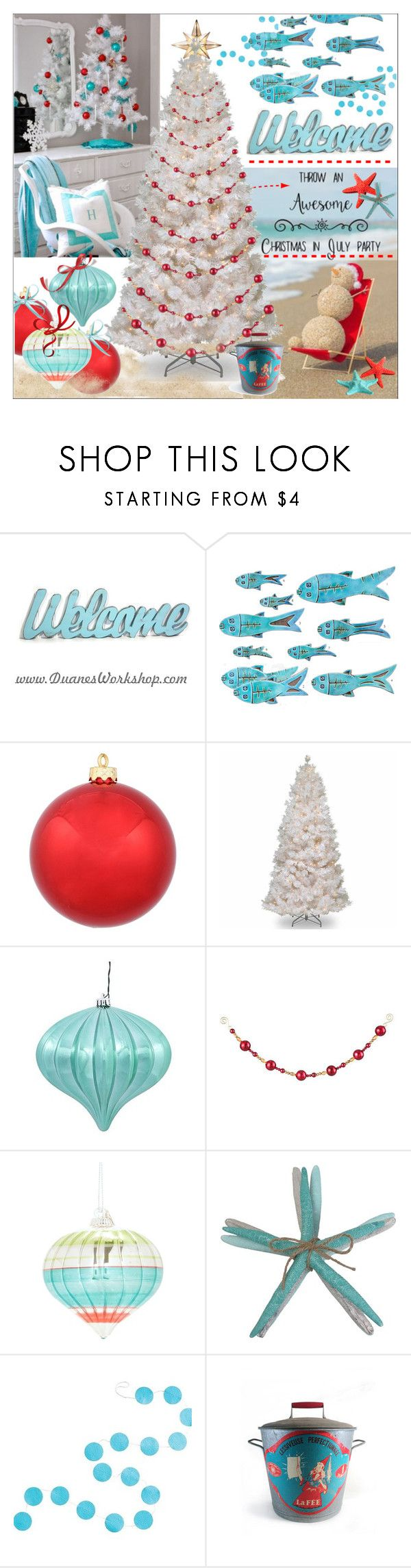 """Christmas in July!"" by calamity-jane-always ❤ liked on Polyvore featuring interior, interiors, interior design, home, home decor, interior decorating, National Tree Company, Improvements, Lord & Taylor and SONOMA Goods for Life"