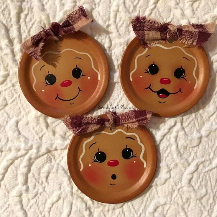 HP GINGERBREAD FRIDGE MAGNETS PAINTED ON REGULAR METAL CANNING LIDS Burgundy | Crafts, Handcrafted & Finished Pieces, Handpainted Items | eBay!