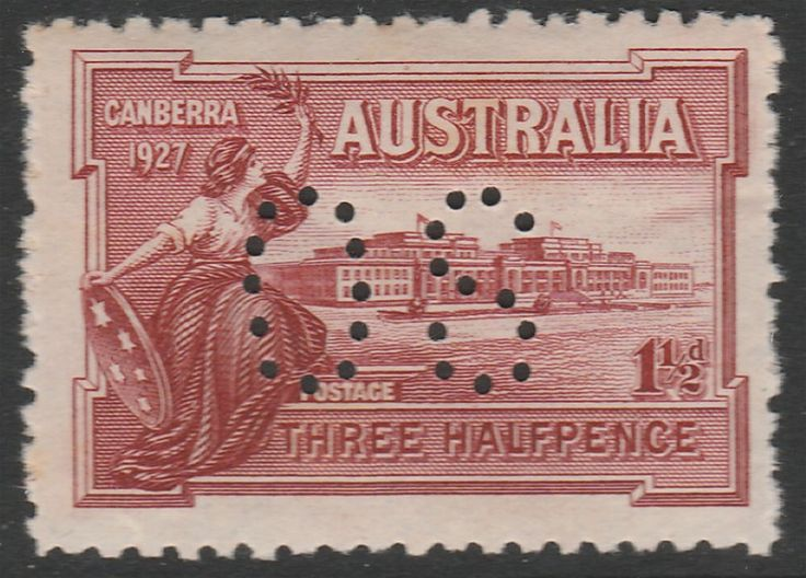 KGV 1914 - 1936 1½d Canberra  Perf OS  MUH. Find more KGV 1914 - 1936 at Stamp Shop