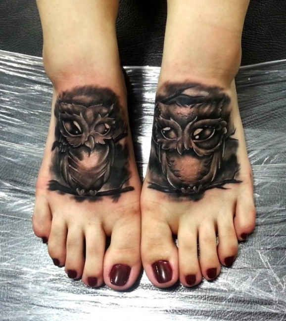 Foot Tattoo Owl  - http://tattootodesign.com/foot-tattoo-owl/  |  #Tattoo, #Tattooed, #Tattoos