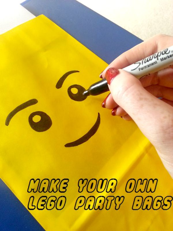 21 LEGO Party Ideas - Take a look at how easy you can achieve a totally unique Party for your kids who are into LEGO  on a budget.DIY Lego Party Bags with Smiley Face.