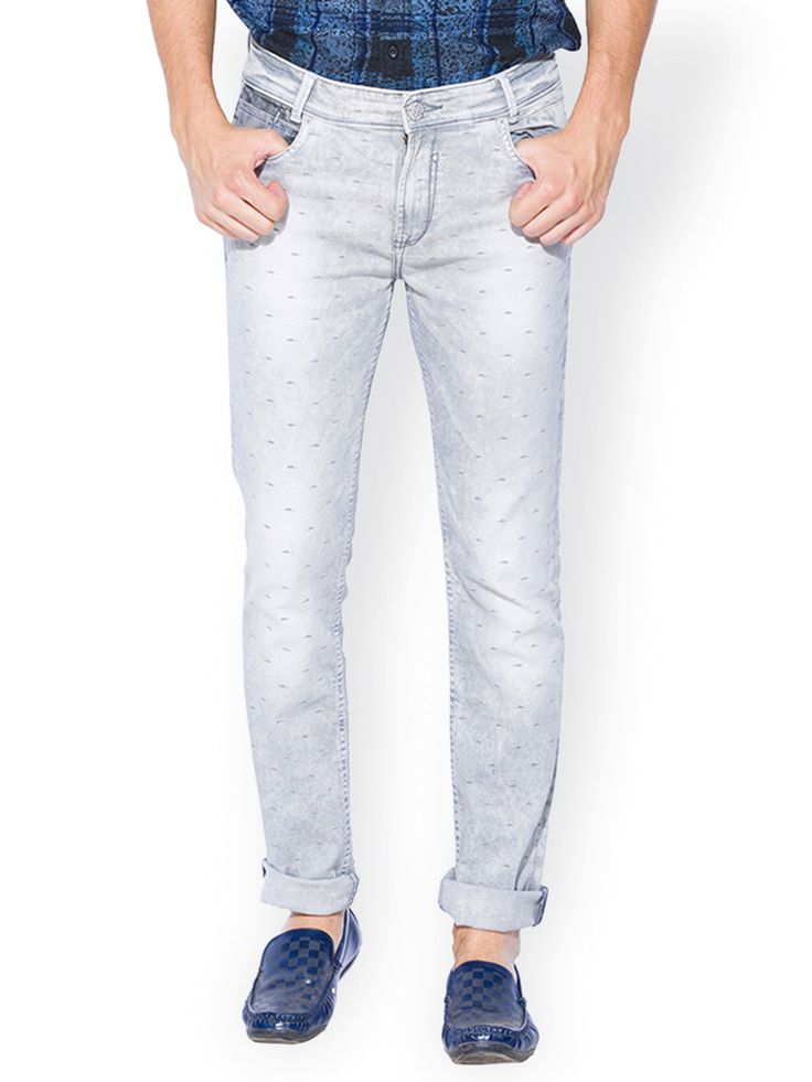 Mufti Plain Grey Narrow Fit Casual Wear Denim Jeans