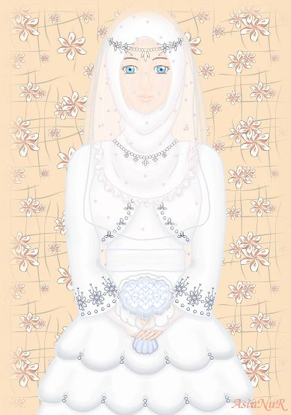 Muslim Bride in White Wedding Dress (Drawing)