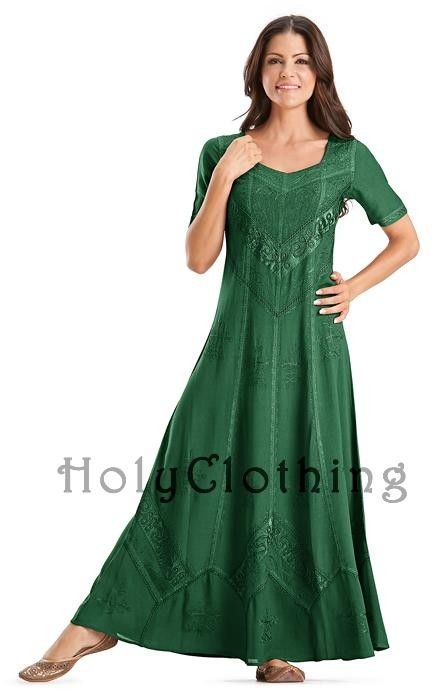 Shop Alexis Empire Gothic Embroidered Dress In Forest Green: http://holyclothing.com/index.php/alexis-empire-waist-renaissance-gothic-embroidered-dress-gown.html. Repins are always appreciated :) #HolyClothing #fashion #Empire Waist #Renaissance #Gothic #Embroidered #Dress #Gown