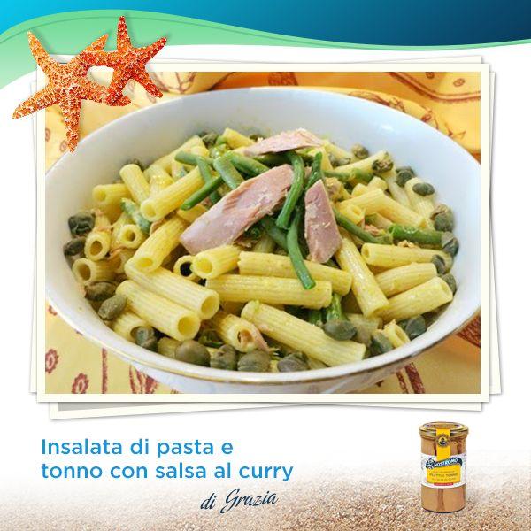 Amici del Nostromo, d'estate sì all'insalata, senza rinunciare al gusto! Ne sa qualcosa Grazia del blog Mammazan: gettate l'ancora nella sua cucina e lasciatevi tentare.  http://atavolaconmammazan.blogspot.it/2014/07/insalata-di-pasta-e-tonno-con-salsa-al.html  #pasta #tonno #tuna #recipe #ricetta #curry