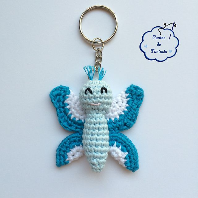 """Butterfly - Free Amigurumi Pattern - PDF File - Click """"download"""" or """"free Ravelry download"""" here: http://www.ravelry.com/patterns/library/mariposa-paqui---paqui-butterfly"""