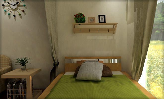 9畳ワンルームのベッドにカーテンで仕切りを作る 実例5
