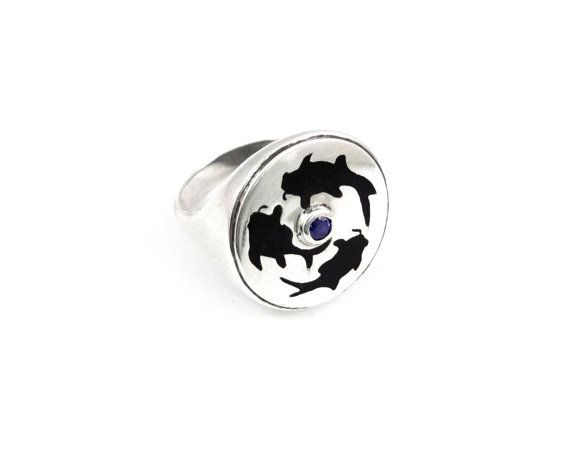 Sterling Silver Ring with koi fish champleve by NatashaGjewellery, $150.00