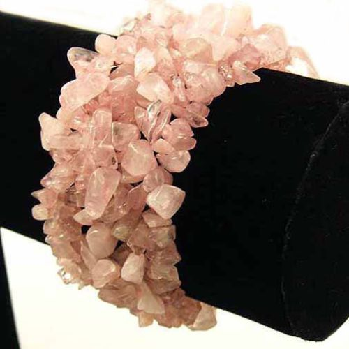Immediate Discount on Crystals and Gemstones for Social Sharing! Rose Quartz Wide Style Chipped Gemstone Bracelet