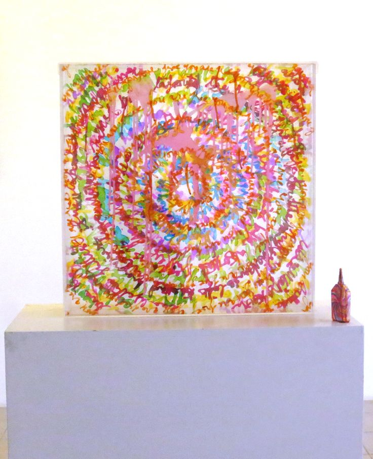Kiran Shah - Read Me II - & acrylic colors on plexi glass, plastic bottle, candy -Price upon request