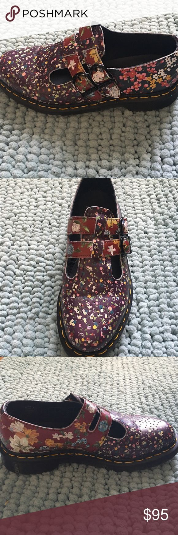 Price drop! Dr. Martens Floral Mary Janes US Wmn 7 Worn twice! They don't fit me as well as I'd like, and unfortunately I feel I should give them a new home. They are SO cute! Still for sale for $125 on Dr. Martens website. Size Women's US 8. Very minimal, normal wear. Dr. Martens Shoes Combat & Moto Boots