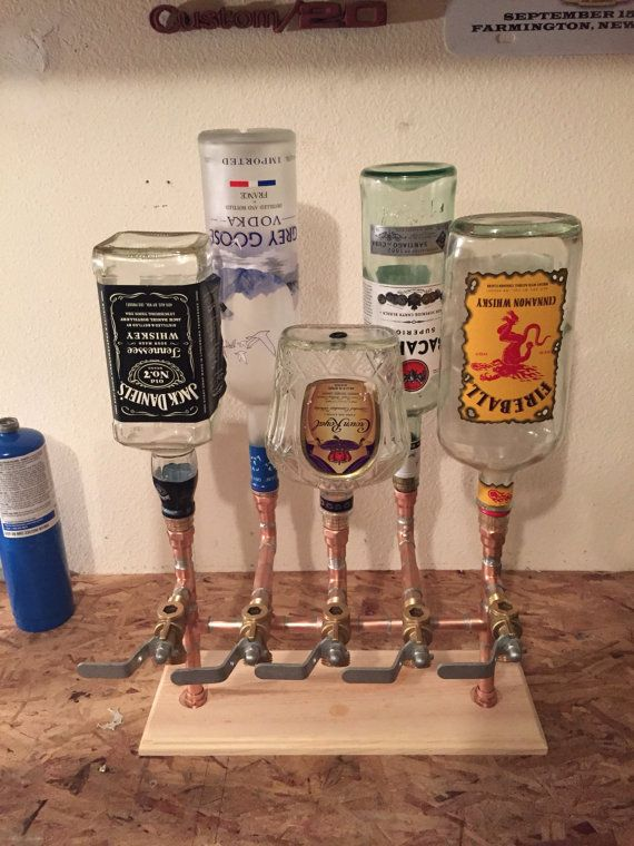 Hello everyone!! I am going to be closing my shop Monday, December 5th, for the season. This will give me time to make orders and have them delivered before Christmas. Thanks for looking!! Thanks again, Jordan This is a unique 5 tap liquor dispenser hand made of soldered copper pipe and fittings, with a nice hand made base made of pine (other woods available) and its ready for its stain. The pipe has been soaked and cleaned in a light acid and the insides brushed out and rinsed in a base…