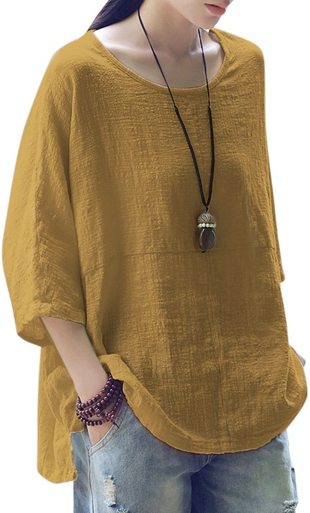 c14158f1f0f6ab 59% OFF! Vintage Loose Pure Color 3 4 Sleeves Baggy Shirts. SHOP NOW ...