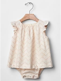 Zig-zag eyelet body double  baby girl