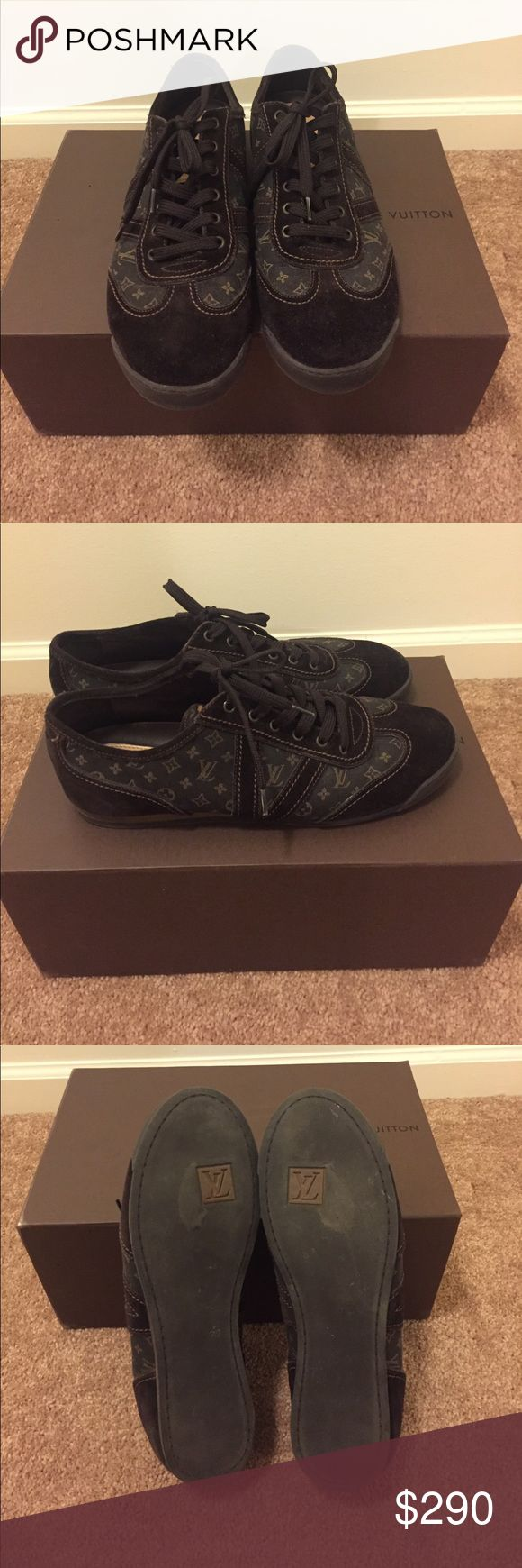 AUTHENTIC LOUIS VUITTON Men's shoes Gently used brown men's sneakers with LOUIS logo on them. Extra laces included. Louis Vuitton Shoes Sneakers
