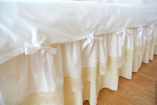 Комплект постельного белья `Винтаж` бело-сливочный  Цвет шампань. Постельное белье ручной работы. Постельное с рюшами.