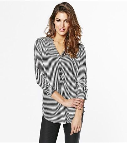 Wear this striped henley tunic on a casual day for a laid-back look.
