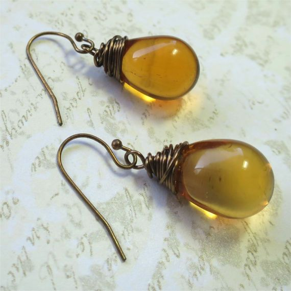 Earrings amber  czech glass teardrop beads with by planettreasures