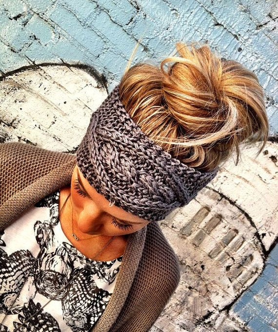 GRAY Crochet Headband Grey Plain Cable Knit Stretchy Head band Ear Warmer Hair Bands Hair Coverings in Grey