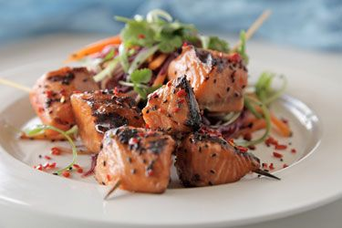 BBQ Regal Salmon Steaks Skewers with Rainbow Noodles recipe – visit Food Hub for New Zealand recipes using local ingredients – foodhub.co.nz