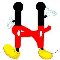 H Original alfabeto inspirado en Mickey Mouse.