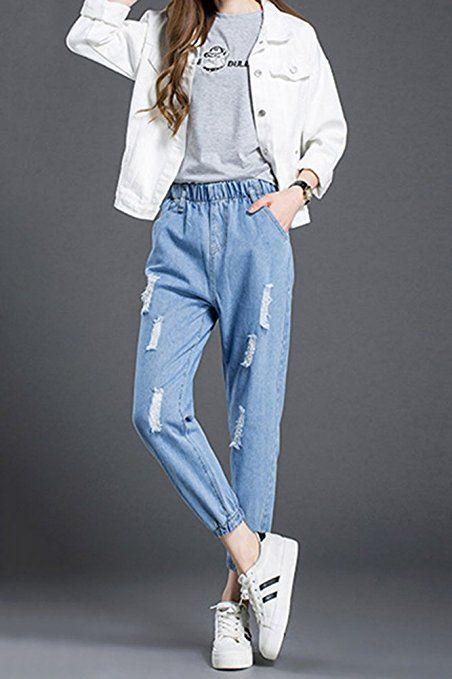 LaoZan Jeans Da Donna - Casuale Jeans Distrutti Pantaloni Comodi Con Elastico In Vita: Amazon.it: Sport e tempo libero