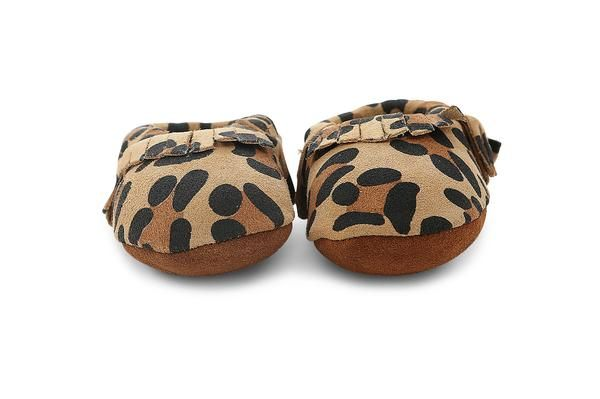 leather moccasins in leopard