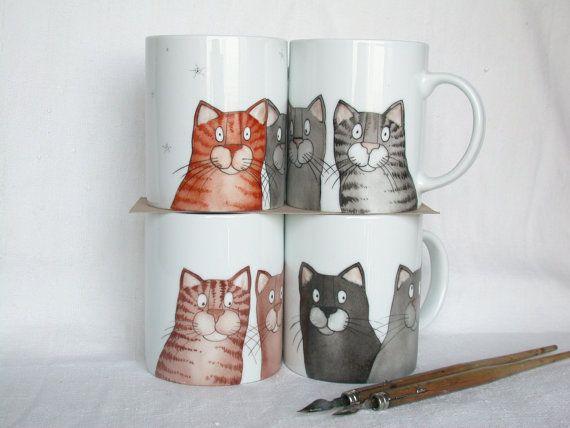 tazza gatti grigi te o caffè dipinta a mano di madrab su Etsy