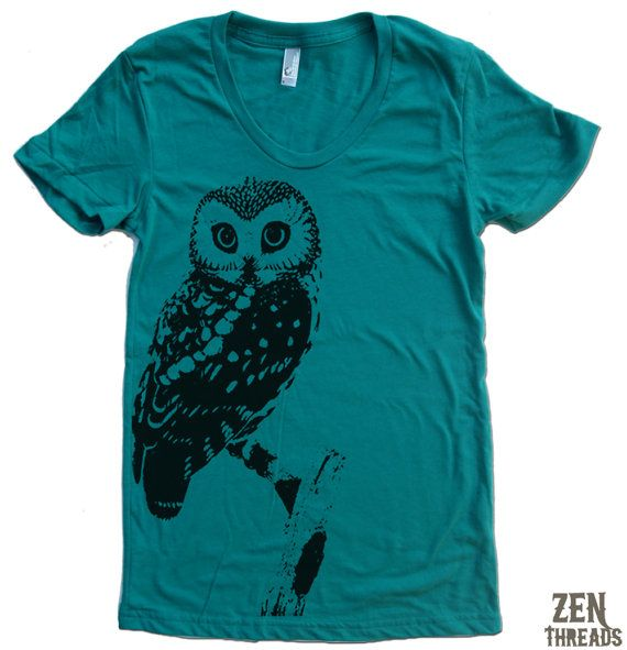 Womens URBAN OWL TShirt american apparel S M L XL 15 door ZenThreads, $18,00
