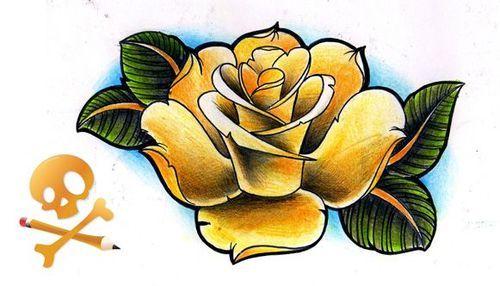 Old school rose tattoo flash