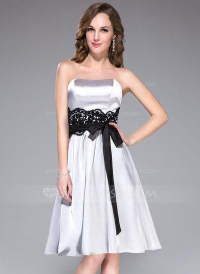 Bridesmaid Dresses - $99.99 - A-Line/Princess Sweetheart Knee-Length Charmeuse Bridesmaid Dress With Lace Sash Bow(s) (007037310) http://jjshouse.com/A-Line-Princess-Sweetheart-Knee-Length-Charmeuse-Bridesmaid-Dress-With-Lace-Sash-Bow-S-007037310-g37310?snsref=pt&utm_content=pt