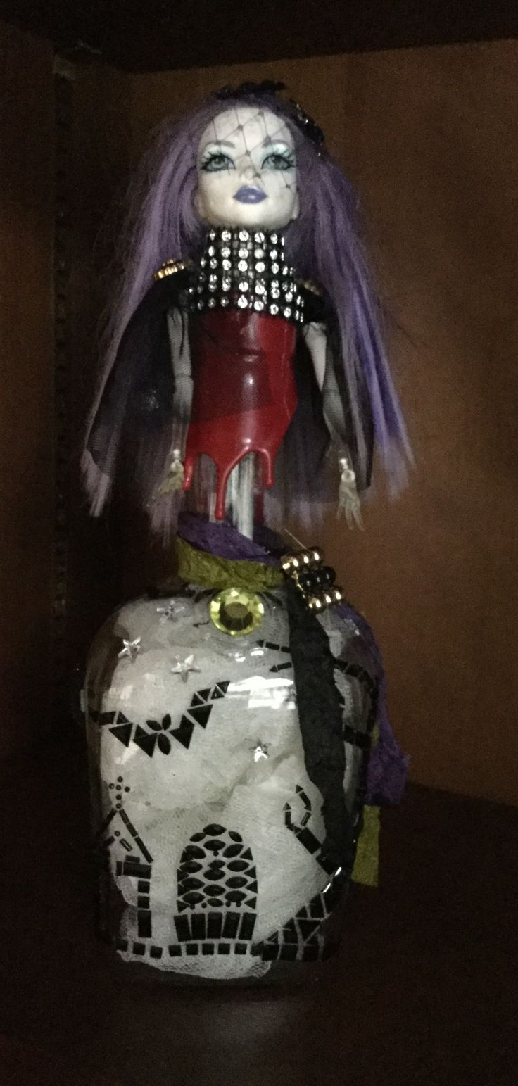 My first Halloween altered art bottle